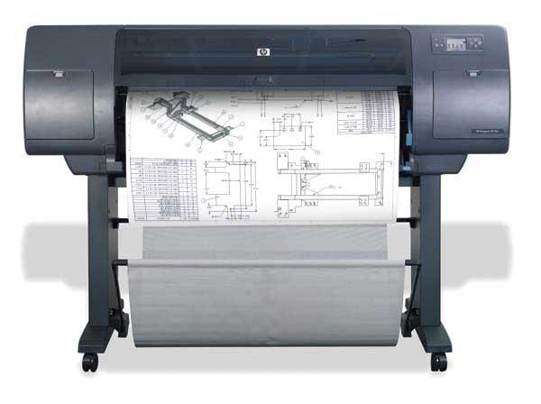 ένα plotter hp4000 την ώρα που εκτυπώνει αρχιτεκτονικά σχέδια